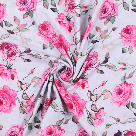 White Pink Flower Rayon Fabric-15075