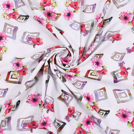 White Pink Flower Rayon Fabric-15084