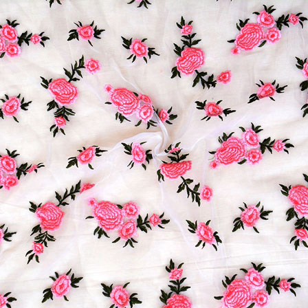 White Pink Flower embroidery Organza Silk Fabric-51511