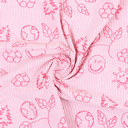 White Pink Handloom Khadi Cotton Fabric-40413