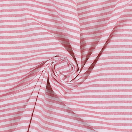 White Pink Handloom Khadi Cotton Fabric-40421