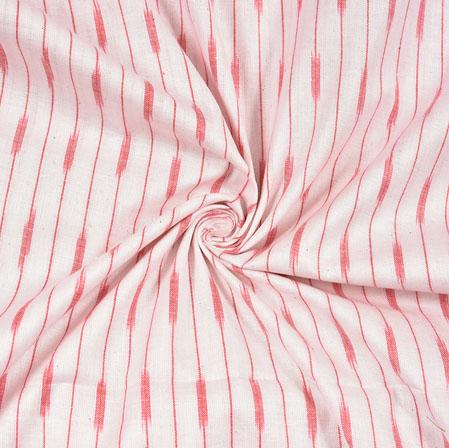 White Pink Ikat Cotton Fabric-11113