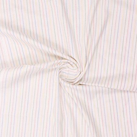 White Pink Kantha Handloom Khadi Cotton Fabric-40753