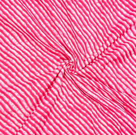 White Pink Leheriya Cotton Fabric-28076