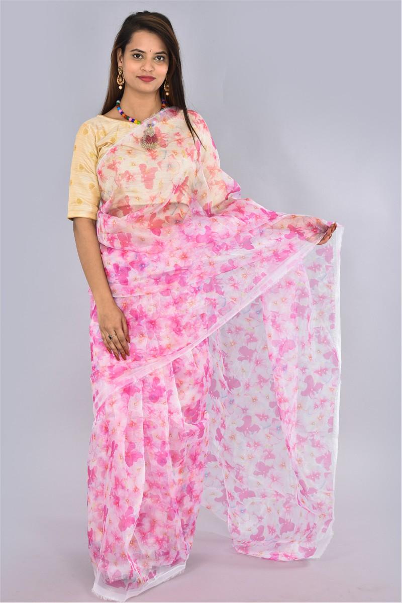 White Pink Organza Digital Printed Saree-36191