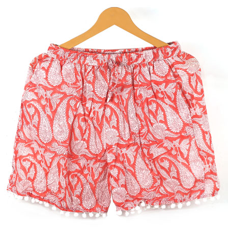 White Pink Paisley Cotton Block Print Short-14648