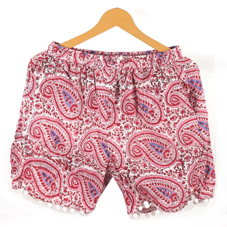 White Pink Paisley Cotton Block Print Short-14655