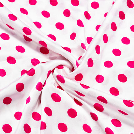 White Pink Polka Crepe Silk Fabric-41122