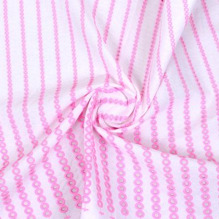 White Pink Polka Lucknowi Chikan Fabric-95008