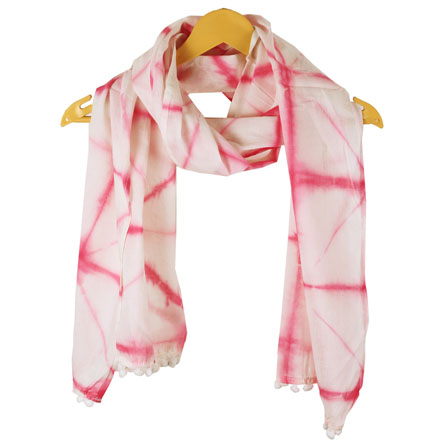 White Pink Shibori Cotton Block Print Dupatta With Pom Pom-33101