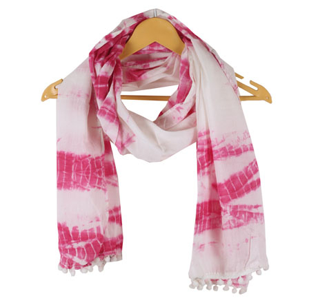 White Pink Shibori Cotton Block Print Dupatta With Pom Pom-33104