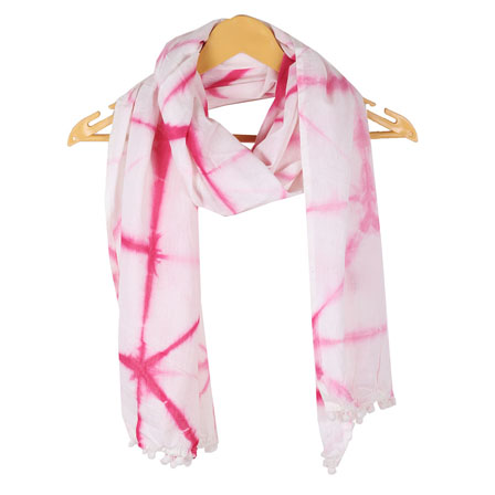 White Pink Shibori Cotton Block Print Dupatta With Pom Pom-33116