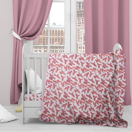 White Pink Sparrow Cotton Block Print Baby Quilt-33135