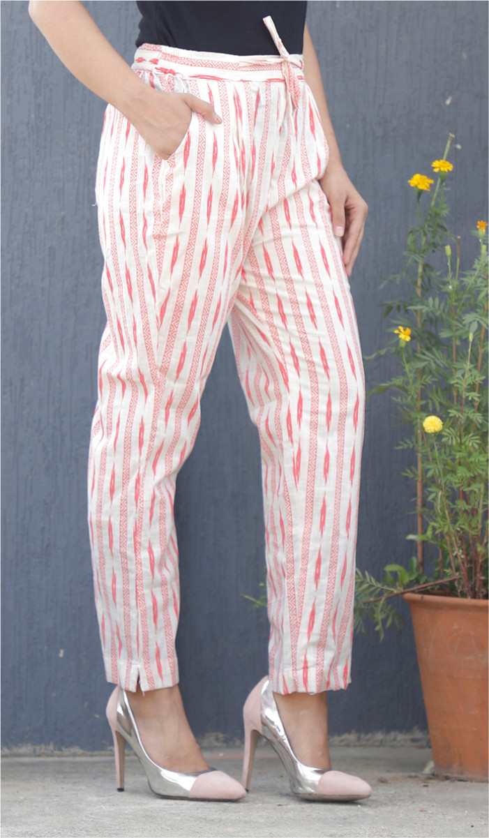 White Pink Stripe Block Print Cotton Pant-34078