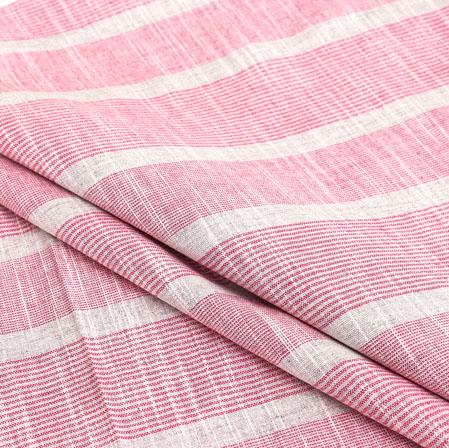 White Pink Stripe Handloom Cotton Fabric-40915
