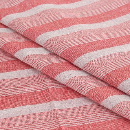 White Pink Stripe Handloom Cotton Fabric-40943