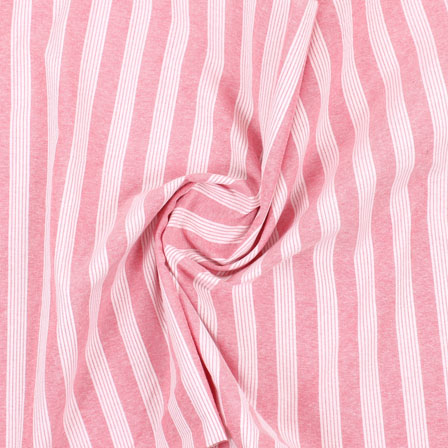 White Pink Stripe Handloom Cotton Fabric-40466