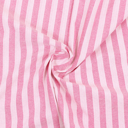 White Pink Stripe Handloom Khadi Cotton Fabric-40469