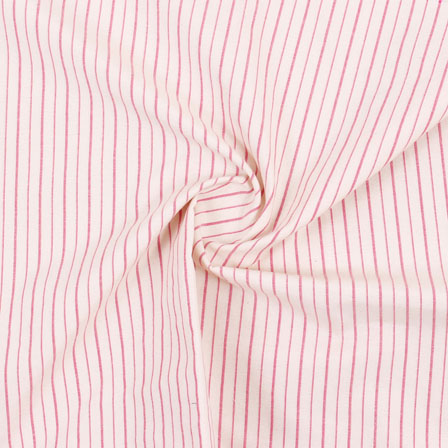 White Pink Stripe Handloom Khadi Cotton Fabric-40476