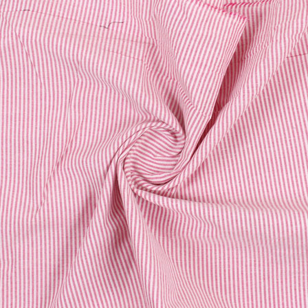 White Pink Stripe Handloom Khadi Cotton Fabric-40479