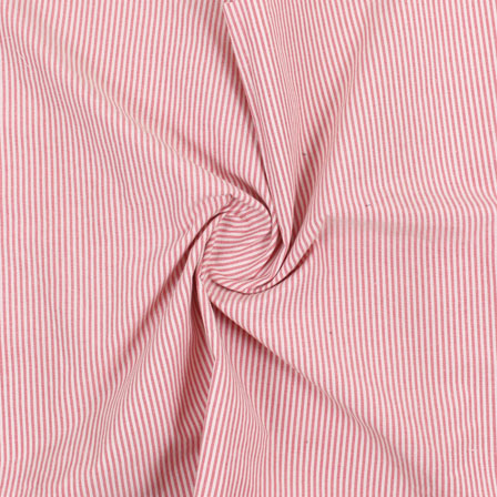 White Pink Stripe Handloom Khadi Cotton Fabric-40480