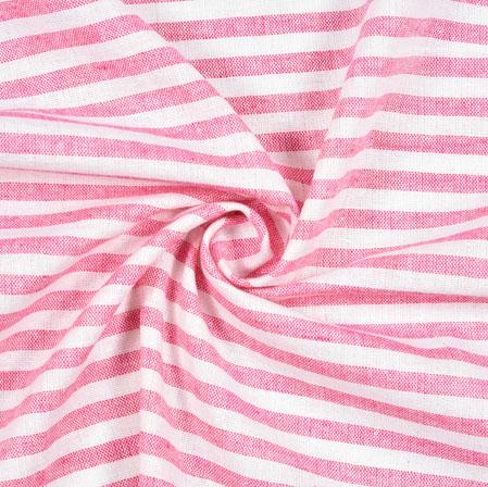White Pink Striped Handloom Cotton Fabric-40839