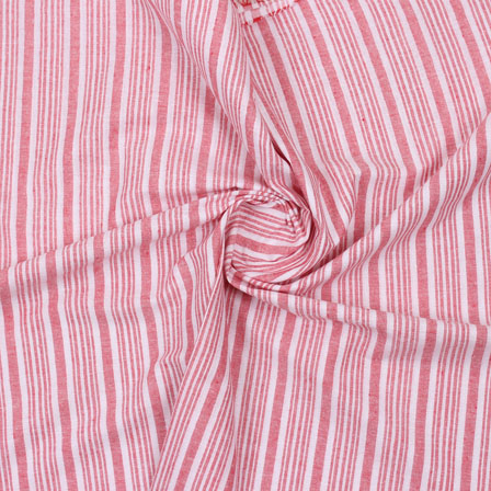 White Pink Striped Handloom Cotton Fabric-40767