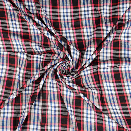 White-Pink and Blue Checks Rayon Shirt Fabric-40232