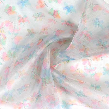 White Pink and Blue Digital Butterfly Organza Silk Fabric-51818