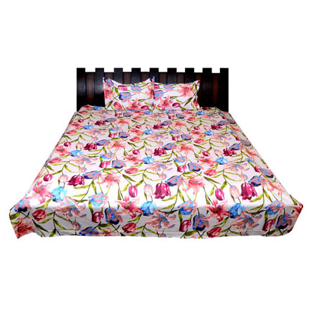 White-Pink and Blue Floral Printed Cotton Double Bed Sheet-0G13