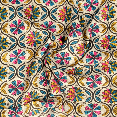 White-Pink and Blue Flower Design Kalamkari Manipuri Silk Fabric-16260