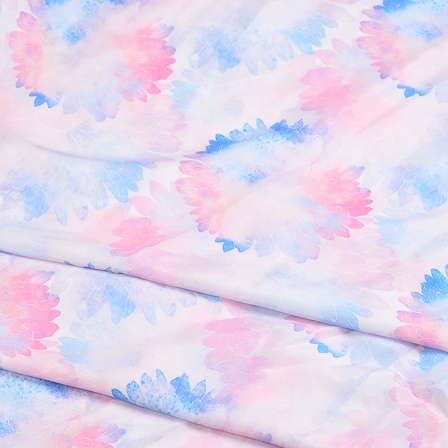 White-Pink and Blue Flower Silk Crepe Fabric-18119