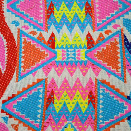 White-Pink and Blue Tryangle Pattern Cotton Jacquard Fabric-31040
