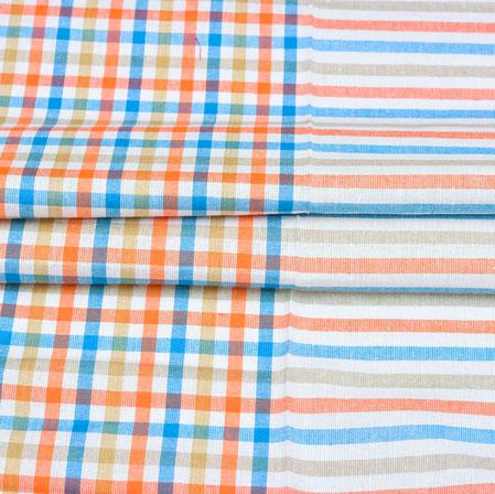 Cotton Shirt (2.25 Meter)-White Pink and Cyan Checks and Stripe-42590