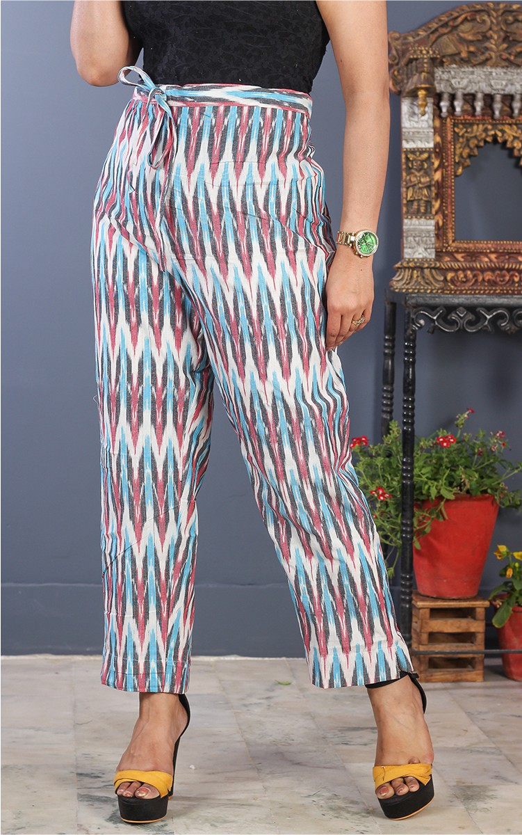 White Pink and Cyan Cotton Ikat Ankle Women Pant-34699