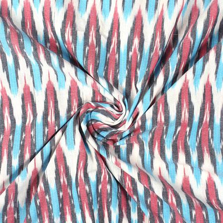 White Pink and Cyan Ikat Cotton Fabric-11009