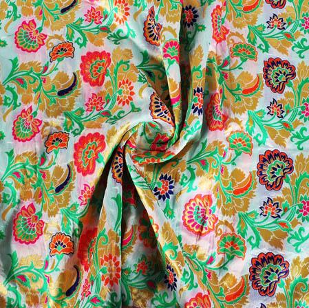 White Pink and Golden Floral Banarasi Silk Fabric-9430