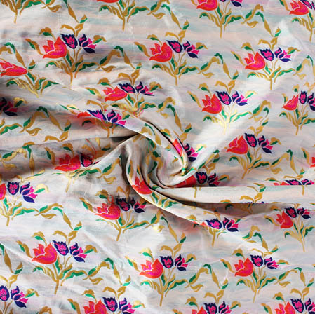 White Pink and Golden Floral Banarasi Silk Fabric-9434