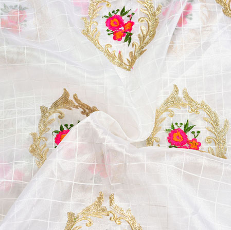 White Pink and Golden Floral Embroidery Organza Silk Fabric-22010