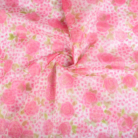 White-Pink and Golden Flower Organza Print Fabric-51275