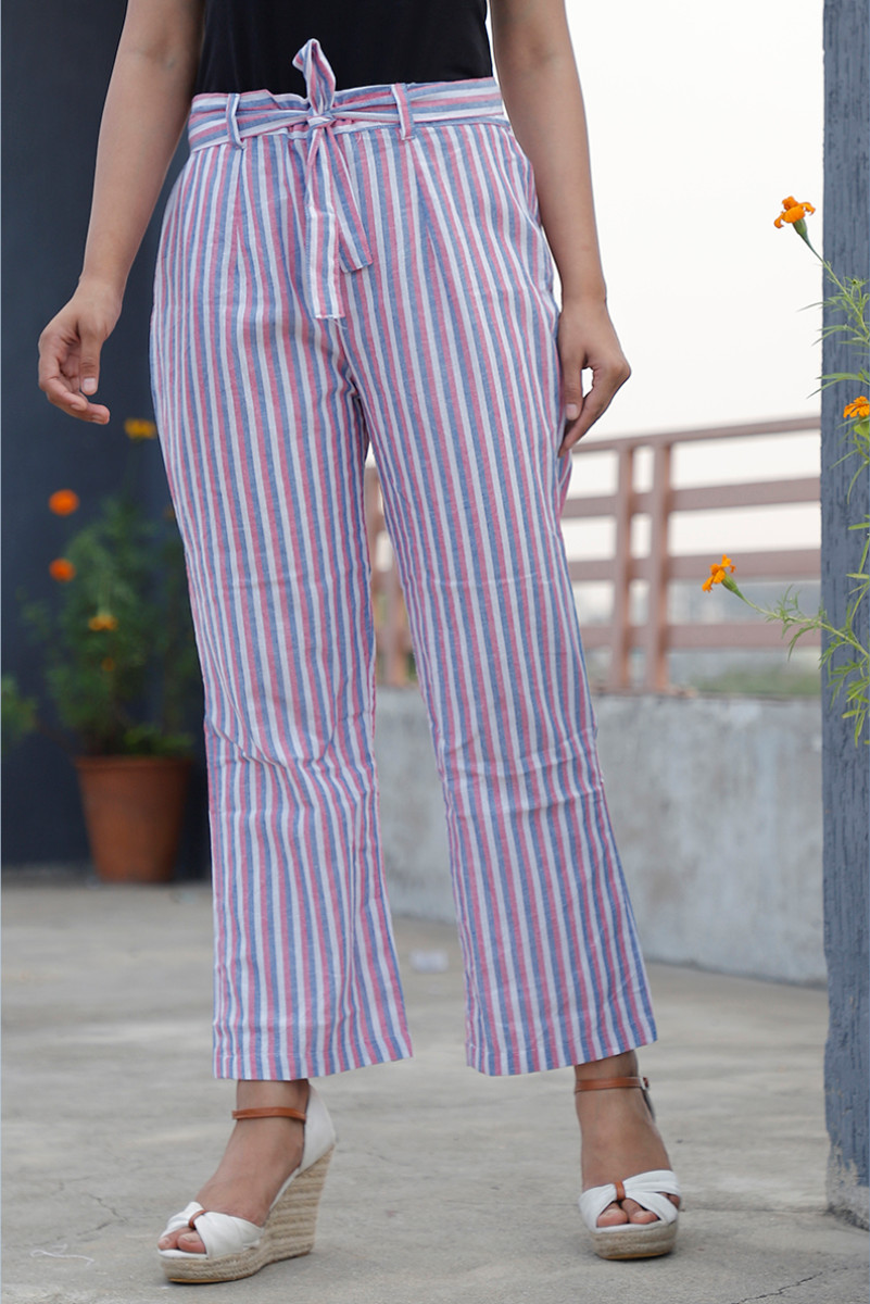 White Pink and Gray Cotton Stripe Pant with Belt-34054