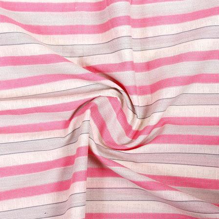 White Pink and Gray Ikat Block Print Cotton Fabric-14853