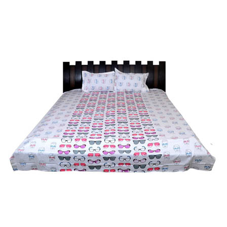 White-Pink and Gray Rajasthani Cotton Double Bed Sheet-0D44