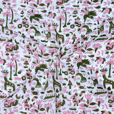 White Pink and Green Block Print Cotton Fabric-14683