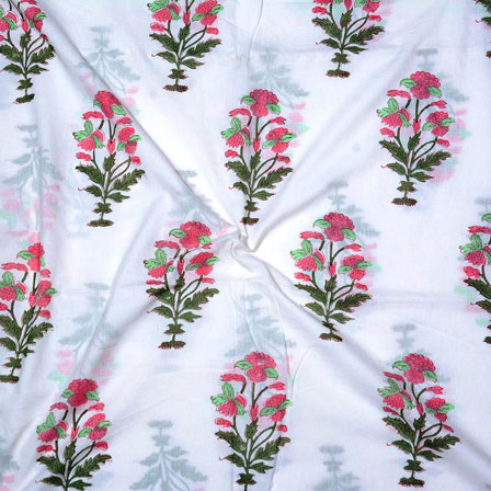 White Pink and Green Block Print Cotton Fabric-14704