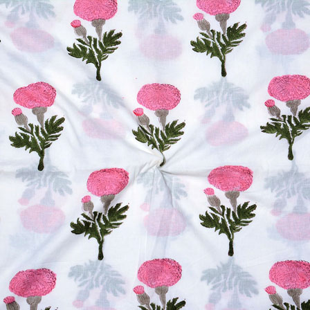 White Pink and Green Block Print Cotton Fabric-14709