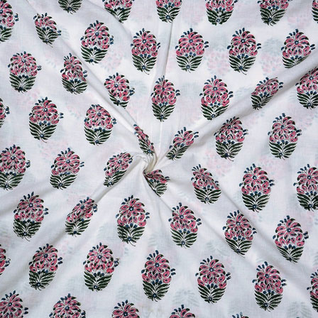 White Pink and Green Block Print Cotton Fabric-14745