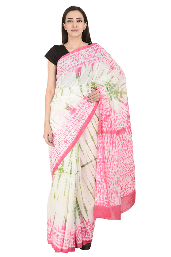 White-Pink and Green Cotton Tie Dye Print Saree-20117