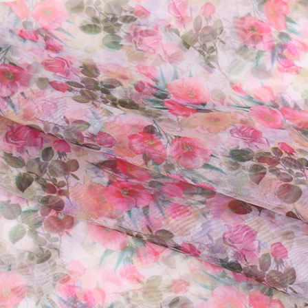 White Pink and Green Digital Organza Silk Fabric-51552