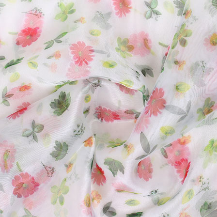 White Pink and Green Digital Organza Silk Fabric-51555